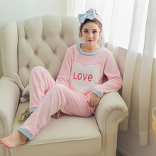 Flannel long sleeved pajamas set for women Nightgown loose sweet Girls sleepwear suit winter two-piece student Christmas clothes(China)