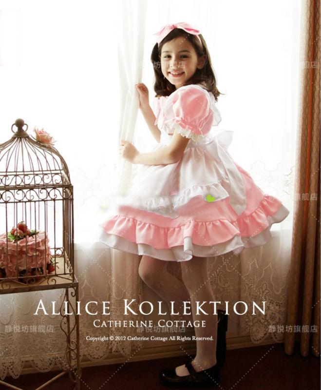 Girl Japanese Cosplay Costume Alice Kids Maid Sailor Lolita Dress Striped Blue/ Girl Cosplay Costume Free Headwear<br><br>Aliexpress