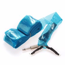 100pcs Disposable Hygiene Tattoo Clip Cord Bag Plastic Blue Transparent Tattooing Machine Clips Sleeve Cover Bag With Box Supply(China)