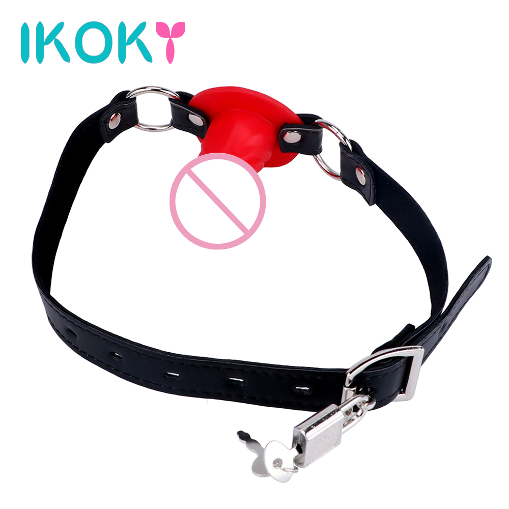 IKOKY SM Bondage Oral Fixation Small Sex Toys Couples Fetish 3 Colors Locking Buckles Penis Gag Slave Dildo Mouth Gag