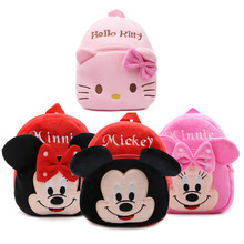 New girls pink schoolbag Cartoon design lovely Mickey Minnie plush backpack for kids(China)