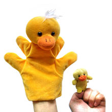 10 pcs/5 sets/one lot, Parent duck hand puppet and kid duck finger puppet as a set, plush toys, Christmas gift, free shipping t(China)