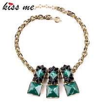 Ms Bright Chothing Accessories Match KISS ME Turkey Pop Square Imitation Emerald Necklaces & Pendants Factory Wholesale
