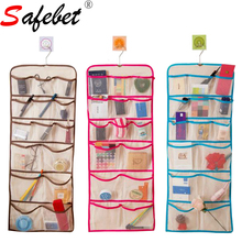 Both Sides Closet Hanging Pockets Home Organizers Walls Door Mesh Storage Bag Cotton Stainless Steel Hook 34*86CM SAFEBET(China)