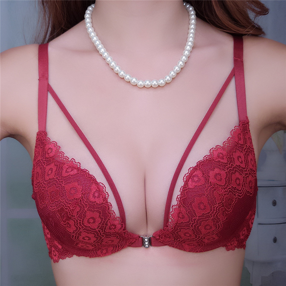17 new fastion women bra set push up deep v front closure sexy lingerie women underwear sets 19