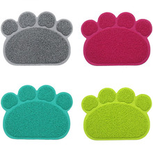 Pet Dog Puppy Cat Feeding Mat Pad Cute Paw PVC Bed Dish Bowl Food Water Feed Placemat Wipe Clean Pet Cat Dog Accessories(China)
