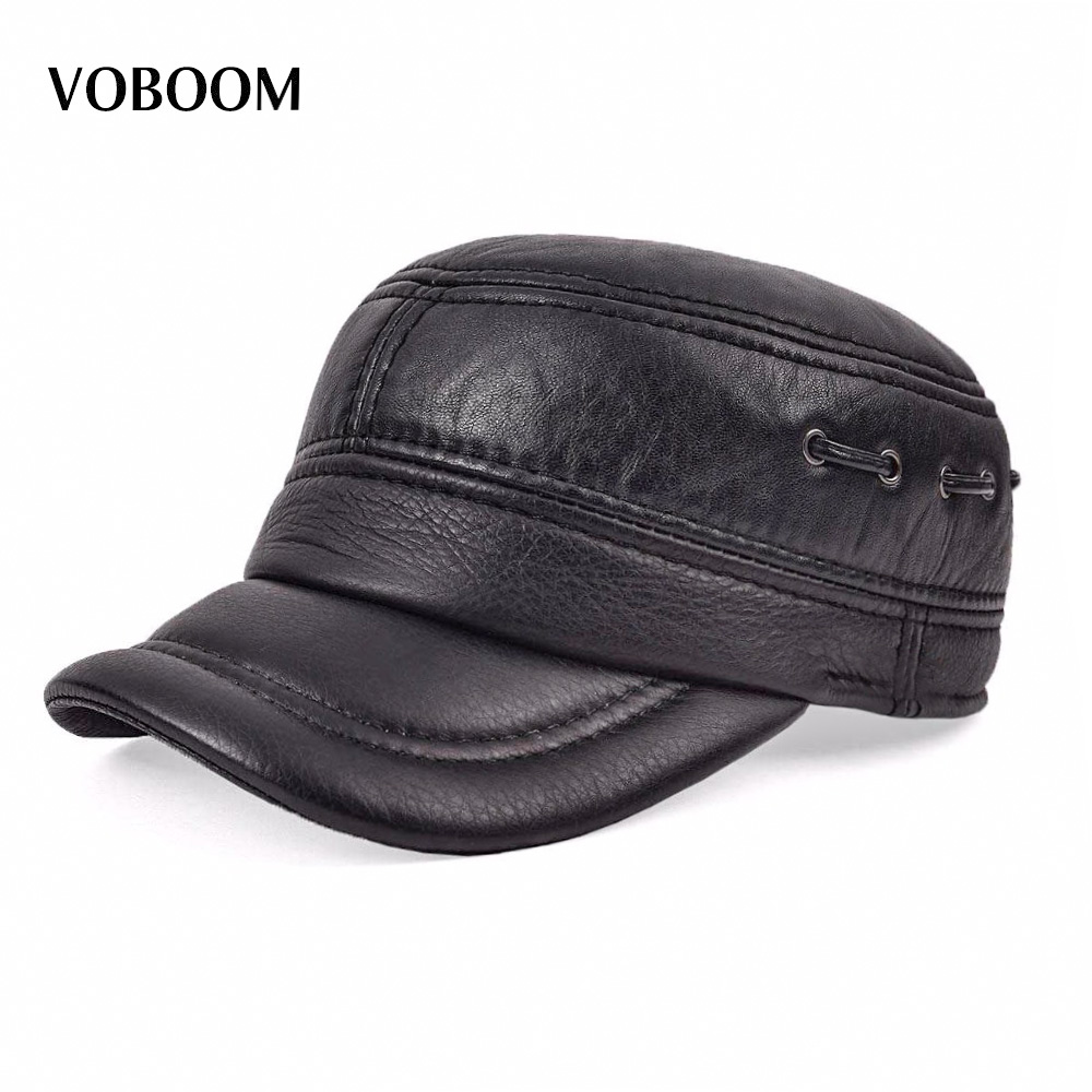 VOBOOM Warm Sheepskin Hat Male Ear Protection Cadet Cap Hat For Man Genuine Leather Hat Quinquagenarian Hat Thermal Ear 0001<br>