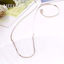 MEEKCAT Women's 1mm Snake chain 18'' 45+6cm style Chains necklace Colar de Ouro gold Color fashion jewelry Female Gift