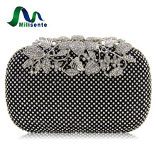 Milisente Women Bag Rhinestone Studded Flower Diamond Bags Lady Wedding Clutch Party Purse Silver Gold Black Small(China)