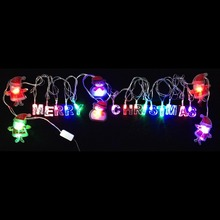 3W 20pcs Merry Christmas and Santa Claus LED Bulbs AC110V 220V Input for Christmas Tree Lighting Decoration, 4 Meter a Set