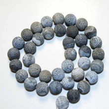 Free Delivery Dull Polish Weathering Black Natural Stone Agat Beads Round For jewelry Making 6-12 mm DIY Bracelet Strand(China)