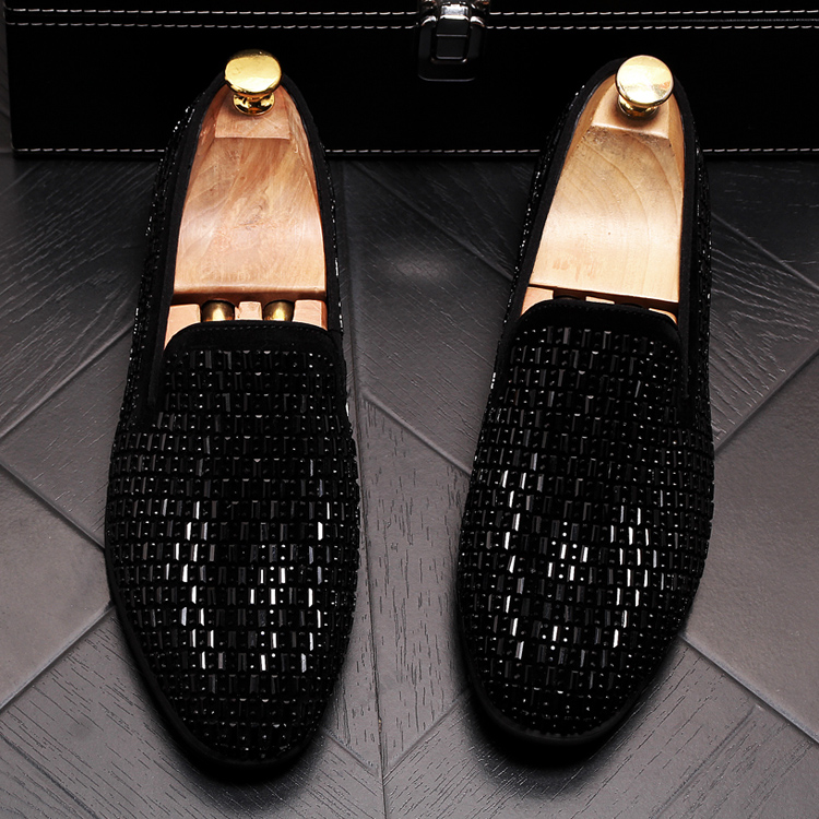 2019 New Gradient Striped Rhinestones Loafers shoes SmokingSlippers Dress Wedding Party Flats Casual Moccasins shoe 53 Online shopping Bangladesh