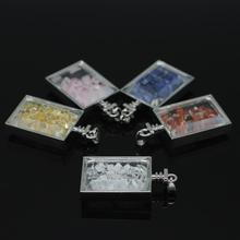 Silver Plated Natural stone chips Box Pendant,Moonstone Agate Lapis Citrine Rose quartz chips Glass Rectangle Box Pendant