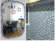China Polished Porcelain Navy Blue White Ceramic Mosaic tile kitchen backsplash bathroom shower pool floor tile wall sticker(China)