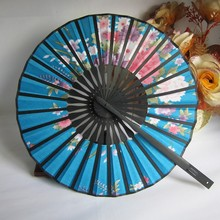 Cute Flower Fabric Bamboo Fans Round Hand Held Fans Holiday Wedding Shower Favor 2017