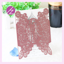 12pcs/lot Chinese handmade free laser cutting unique and special pattern wedding favor invitation card QJ-157(China)