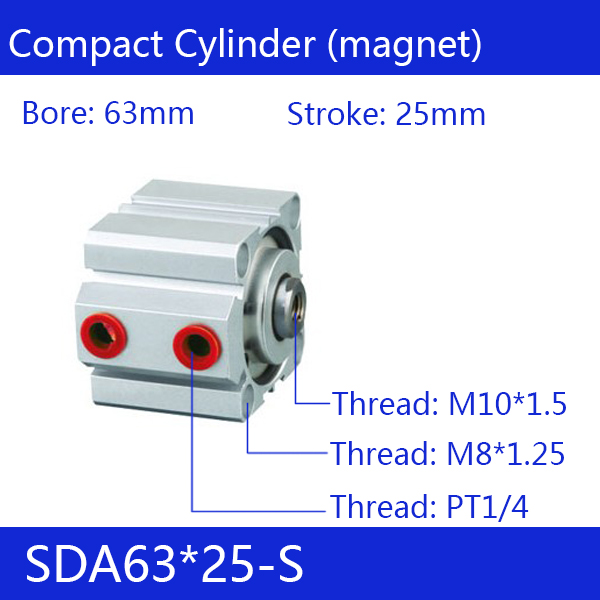 SDA63*25-S Free shipping 63mm Bore 25mm Stroke Compact Air Cylinders SDA63X25-S Dual Action Air Pneumatic Cylinder<br>