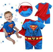 Goldbuddy Free Shiping 4 sets/lot Baby New Style Superman Romper with Red Underwear and Dress Smock Toddler Cloak Infant Costume