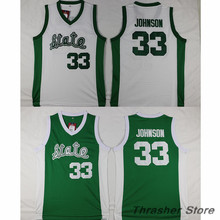 Magic Earvin Johnson #33 Michigan State Green/White Stitched Basketball Jersey Sewn Camisa Embroidery Logos