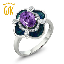 2017 fine jewelry classics gemstone women ring 1.29 Ct Oval Purple Amethyst 925 Sterling Silver Enamel Flower Ring wedding gift(China)