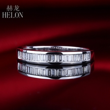 HELON Solid 10k White Gold Pave 0.29ct Baguette Diamond Band Engagement Wedding Women's Diamonds Jewelry Ring Channel Setting