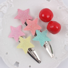 2017 new clip geometric five-pointed star diameter 30mm girls Barrettes long 60mm lovely Hair accessories for kids Hairpins 1pcs