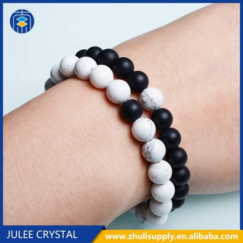 JuleeCrystal 2Pcs/Set Natural stone beads bracelet Couple Lovers best friend bracelet for women yoga