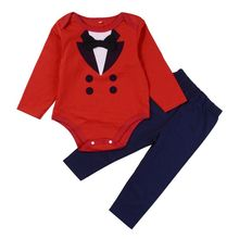 New Autumn & Spring Long Sleeve Baby boys Gentleman Suit Red Romper Top+Full Length Pants Set Lovely Design Bebe Clothing Set(China)