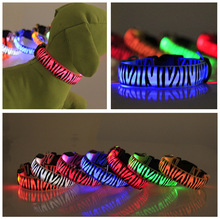 LED Pet Dog Cat Collar,Night Safety Flashing Glow In The Dark Dog Leash,Dog Zebra Pattern Luminous Adjustable Collar Wholesale