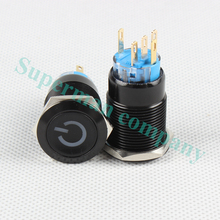 19mm Metal Alumina black press button Led power mark lamp button latching control switch self-lock PushButton Switch 19DY/L,S.BK(China)
