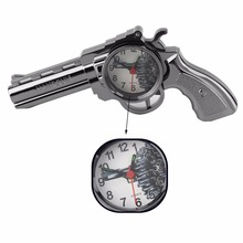2017 Plastic Creative Kids Pistol Gun Alarm Clock Table Clock Home Office Decoration Gift Silver Ornaments Desk Accessories