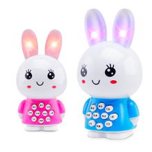 Mini rabbit lanyard story machine children early childhood educational toys t Enfant Unisex Battery Flashing Led Toy Phone For