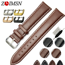 ZLIMSN Smooth Soft 100% Real Leather Watchbands Black White Stitched Belt Men Watch Band Strap 22mm Watch Relojes Hombre 2016