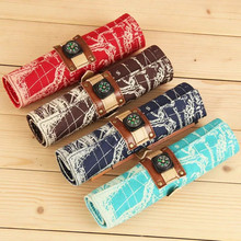 New Creative Pencil Case Roll Pencil Box Pouch Sketch Pencil Brush Bag Kits Holders Compass Map Canvas Roll Up Pencil Bags Retro(China)