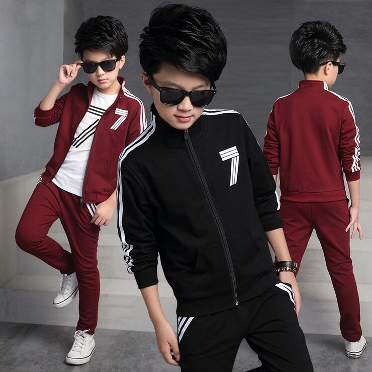 Spring And Autumn Children s Sports Suits Three - piece Ensemble Garcon Long - sleeved Kid s Sweater Sets Clothes For Boys<br>