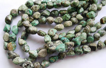 5strands 9-14mm Genuine Africal Turquoise stone nuggets chip freeform faceted wholesale loose beads(China)