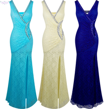 Angel-fashions Prom Dresses Long Lace Evening Dress robe de soiree Dark blue light blue Champagne 232