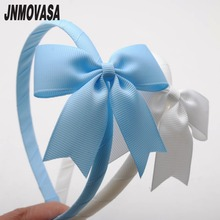 1piece 10mm high quality solid grosgrain ribbon wrapped hairbands with cheer bow girl headband hair band girls tiaras(China)