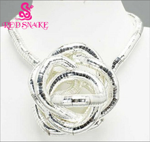 RED SNAKE Retail Guaranteed 100%Silver Plated Punk Necklace Twistable Flexible Bendable  Bendy Snake Necklace Manufactory Price