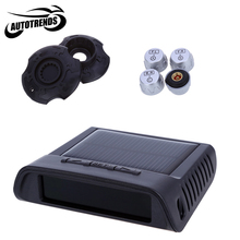 Solar Power Supply TPMS 4 External Sensors Car Tire Pressure Alarm Monitoring System with LED Display Screen(China)