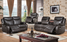 Modern recliner leather sofa set with genuine leather (Manual)