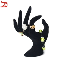 Lady OK Shaped Hand Jewelry Display Stand Black Velvet Hand Model Ring Bracelet Bangle Necklace Hanging Organizer Stand 11*17cm(China)