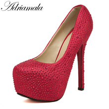 2018 Rhinestone Platform Pumps Dress Wedding Shoes Brand Designer Pointed Toe Sexy Ultra High Heels Platform Pumps Shoes Women(China)