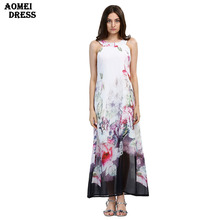 Woman Fashion Boho Maxi Print Floral Dresses Plus Size White Long Dress Sleeveless Summer Sundress Vestidos Beachwear Dress Robe