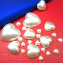 Free Shipping Ivory/White Craft ABS Imitation Half Heart Pearls Flatback Pearls Resin Scrapbook Beads Decorate Diy