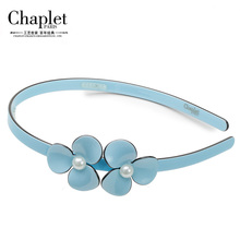 Chaplet 2016 Hair Accessories Korean Fashion Flower Plastic Hairbands Pearls Ponytail Hair Clips Elastic Hair Bands for Women(China)