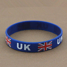 2pcs UK Flag Sport Silicone Elastic Wrist Band Football Star Wristband Soccer World Cup Fans Men's Bracelet Souvenir Gift 2018(China)