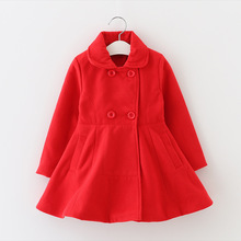 Winter Girls red Princess coat children wool double breasted coat Winter models High Quality(China)