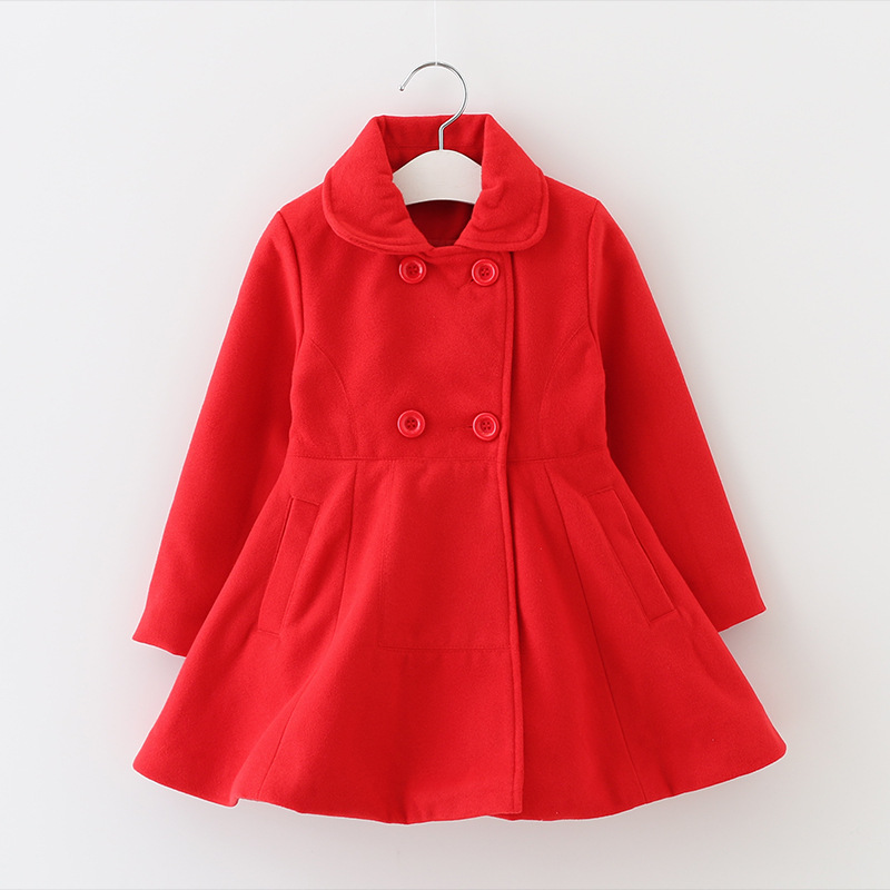 Winter Girls red Princess coat  children wool double breasted coat Winter models High Quality<br>