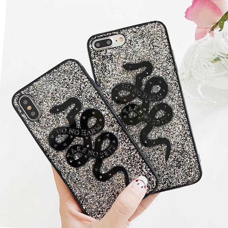 Fashion Snake Animal Brand Silicon Soft Case for iPhone 6 6S plus 7 7plus 8 8plus X 10 Phone Case Glitter Cover Coque Hull (5)
